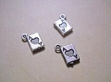 Card Charms Playing Card Charms Antiqued Silver Ace of Heart Alice in Wonderland