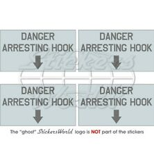 "DANGER ARRESTING HOOK LowVis Aircraft Stencil 50mm (2"") Stickers Decals x4"