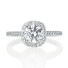 1 Ct D VS1 Halo Diamond Engagement Ring Round Cut 14K White Gold Enhanced