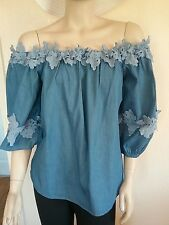 CAMEO ROSE GYPSY STYLE DENIM LOOK TOP SIZE 14/16 PRETTY
