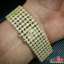 Mens 14k Gold Plated Simulated Diamond Hip Hop Iced Out Watch Band 6 Row Design