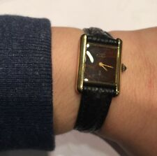 MONTRE BRACELET MECANIQUE FEMME : MUST DE CARTIER EN VERMEIL FONCTIONNE WATCH !!