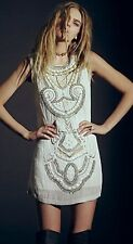 Free People Embellished All in a Row Beaded Shift Dress Sequin Embroidered Rare