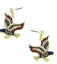 PATRIOTIC RHINESTONE 4TH OF JULY RED, WHITE & BLUE EAGLE GOLD TONE EARRINGS