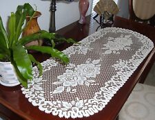 Rose Design Lace Table Runner Ivory