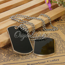 DIY Cool Military Army Style Black 2 Dog Tags Chain Beauty Mens Pendant Necklace