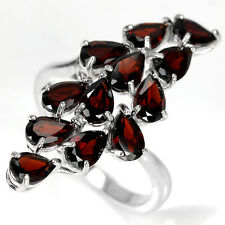 Sterling Silver 925 Genuine Deep Red Garnet Spray Cluster Ring Size R.5 (US 9)