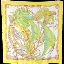 SALVATORE FERRAGAMO Yellow & Multi-Color Fish Print Silk Twill Scarf