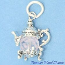 TEA POT TEAPOT with PINK SWAROVSKI CRYSTAL 3D .925 Sterling Silver Charm