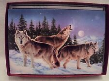"Leanin Tree ""WOLF TRIO IN MOONLIGHT"" ~ BOXED CHRISTMAS CARDS ~ Lot Of 2 Boxes"