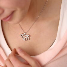 Wholesale Rhinestone Running Horse Charm Pendant Necklace Clavicle Chain Jewelry