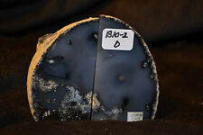 """B10-2 ONE PAIR BUSINESS CARD HOLDER MINI BOOKEND BRAZIL GEODE AGATE  3""""TALL"""