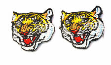 2x  4cm ROARING TIGER HEAD  EMBROIDERED APPLIQUE BADGE  PATCH SEW IRON ON