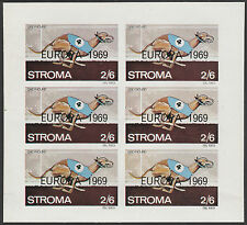 GB Locals - Stroma (1817) 1969 EUROPA overprint on DOGS imperf sheet of 6 u/m