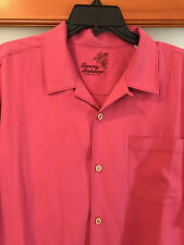 NWT Size Large Tommy Bahama 100% Silk Camp Shirt, solid red, great deal L