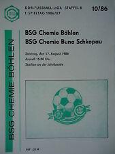 Programma 1986/87 BSG Chemie Böhlen-Buna Schkopau
