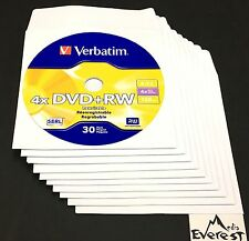 10 Verbatim Blank DVD+RW 4x Logo Branded 4.7GB Rewritable DVD Disc 94834