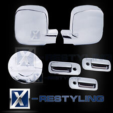 Chrome 3 Door Handle+Mirror+Fuel Gas Cover for 03-15 Chevy Express/GMC Savana