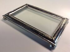 "Moroccan Hand Hammered Silver Finish Metal 8""x 5"" Glass Display Tray"