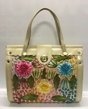 Vintage Purse Large Raffia Flowers Leaves Purse Bag Straw Look Flowers 13 x 11