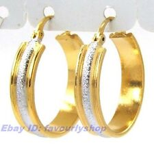8G TWOTONE CIRCLE 18K YELLOW/WHITE GOLD PLATED HOOP EARRING SOLID FILL GEP f14