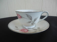 noritake bone china  rosemarie tea cup and saucer  pink and grey rose 6044
