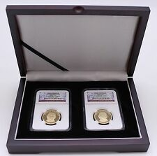 Wood Display Box for 2 Certified Coin Slabs From PCGS or NGC, Mahogany Finish