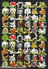 hübscher alter Oblatenbogen mit 60 Bildchen 11 x 16,5 cm - DIE CUT SCRAPS