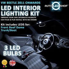 VW BEETLE A5 2012 ONWARDS WHITE LED INTERIOR LIGHT SET BULBS XENON SMD