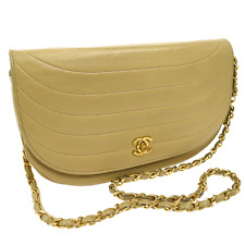 Auth CHANEL Quilted CC Logos Chain Shoulder Bag Beige Leather Vintage JZ00699