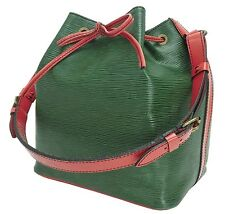 Auth LOUIS VUITTON Petit Noe Green and Red Epi Shoulder Tote Bag Purse #14204