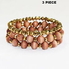 3 Piece Brown Wooden and Crystal Beaded Stretch Bracelets
