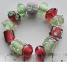 13 x various pink and pale green lampwork  glass beads  43 g  115