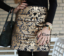 ZARA RARE! JACQUARD FLORAL FLOWER BLACK GOLD MINI SKIRT EXTRA SMALL- XS