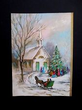 Vintage Unused Xmas Greeting Card Victorian Families Heading to Church