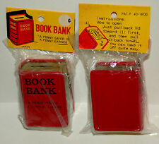 Vintage Dime Store Mini Book Tin Litho Toy Bank 1960s Nos New MIP Japan