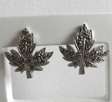 Vintage 40/50s Silver Tone Marcasite Canadian Maple Leaf Screw-On Earrings