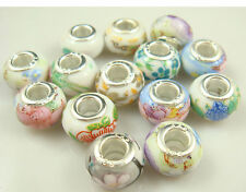 5pcs Silver MURANO Lampwork Beads Fit Charm DIY Bracelet Necklace wholesale a16v