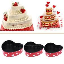 3X Love Heart Shape Cake Pan Tin DIY Cake Mold Baking Cheese Bread Tray Bakeware