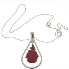 LARGE TEAR DROP STERLING SILVER FLOWER PENDANT MADE USING REAL MINIATURE POPPIES