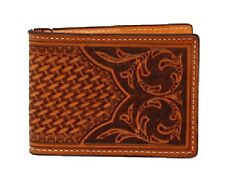 Nocona Western Mens Wallet Leather Bifold Tooled Natural Tan N5412648