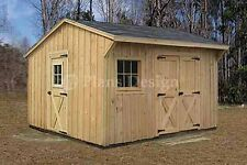 12' x 12' Wooden Storage Saltbox Style Shed Plans, Material List Included #71212