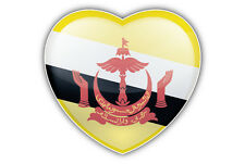Brunei Flag Glossy Heart Car Bumper Sticker Decal 5'' x 5''