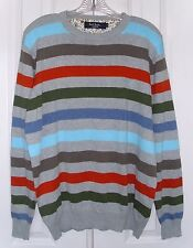 PAUL SMITH LONDON MEN'S CREW NECK SWEATER MULTI-COLOR STRIPES COTTON SIZE LARGE