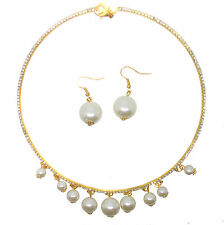 Crystal Pearl Choker Chain Collar Bib Gatsby Necklace Earrings Gift Jewelry Set