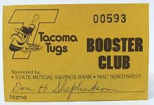 scarce 1979 TACOMA TUGS BOOSTER CLUB Membership Card PCL baseball minor league
