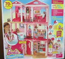 ~NEW~ Mattel Barbie Dream House 3 Story Pink Furnished Doll House