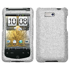 For AT&T HTC Aria Crystal Diamond BLING Case Snap Phone Cover Accessory Silver
