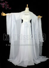 China Tan Dynasty Fairy Girl's White Chiffon HanFu Cosplay Special Offer Dress