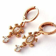 Tortoise Dangle Drop Earrings Flawless Cubic Zirconia Round Cut Rose Gold Filled